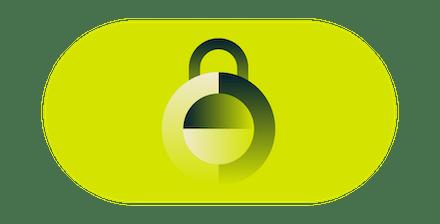 Candado cerrado color verde.