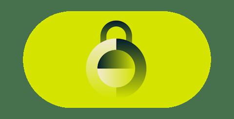 Turvallinen vihreä lukko.