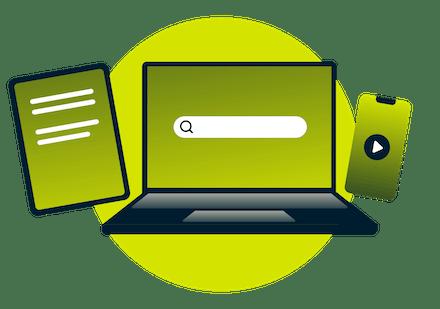 En laptop, tablet og telefon.