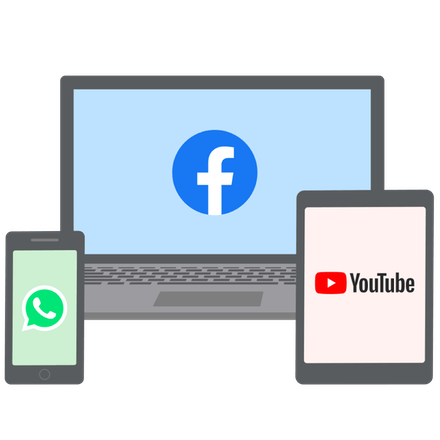 Facebook, WhatsApp og YouTube avblokkert på telefoner, PC-er og nettbrett.