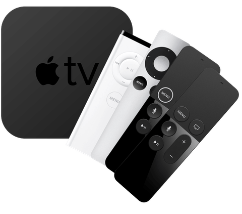 Todas as gerações de Apple TV com controles remotos