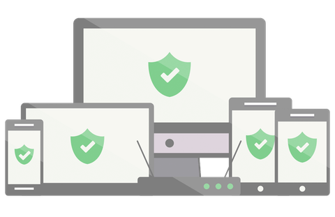 Green shields with checkmarks on an assortment of devices.