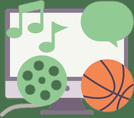 Avblokker videoer, musikk, sport og sosiale medier.
