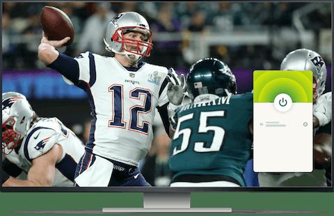 NFL-Spiel auf einem Desktop mit ExpressVPN-Verbindung.