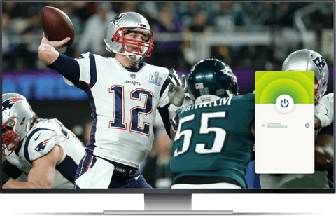 NFL game on a desktop with ExpressVPN connected.