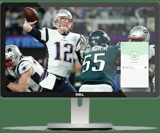 NFL game on a desktop with ExpressVPN.