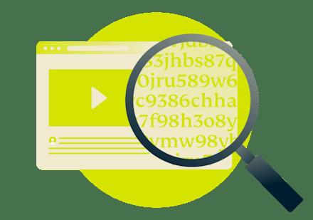 Una lupa sobre un navegador mostrando un texto encriptado.