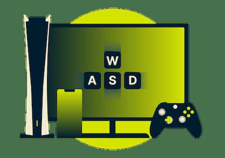 ゲーム端末、ハンドセット、コントローラー、テレビ。