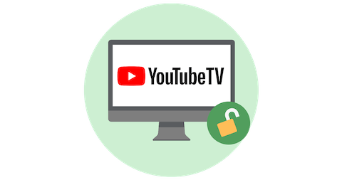 YouTube TV on a screen with open padlock.