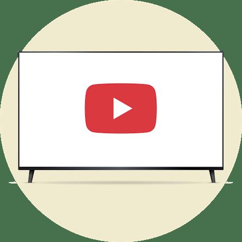 YouTube TV på en skjerm med en åpen hengelås.