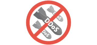 """NO DDOS"" sign."