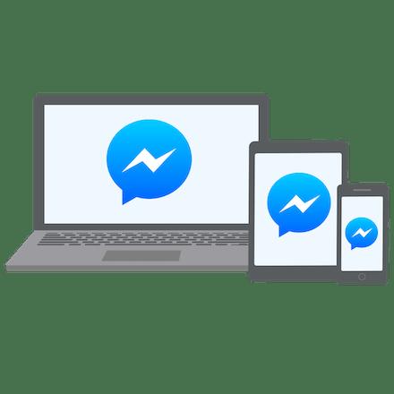 Facebook Messengerin esto poistettuna läppärillä, tabletilla ja puhelimella.