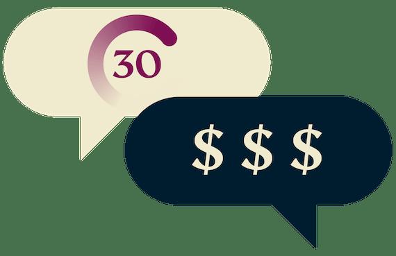 Гарантия возврата денег 30 дней: одно облачко с таймером со знаком 30 дней и другое облачко со знаками доллара.
