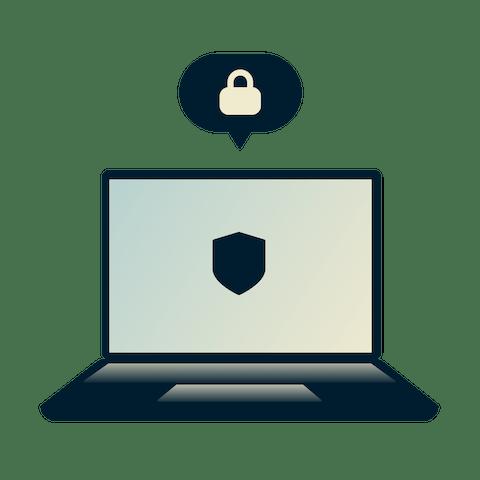 Bærbar datamaskin tilkoblet internett via proxy-server.