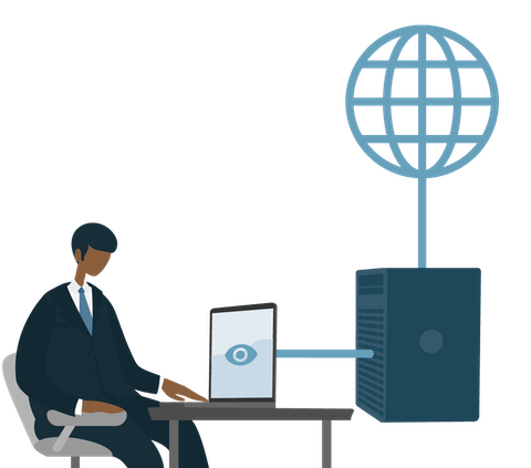 Ein Mann, der einen Proxy-Server benutzt, um sich mit dem Internet zu verbinden.