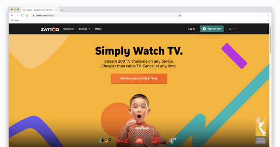 Zrzut ekranu ze stroną główną Zattoo.