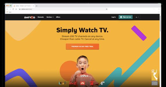 Screenshot of Zattoo's homepage.