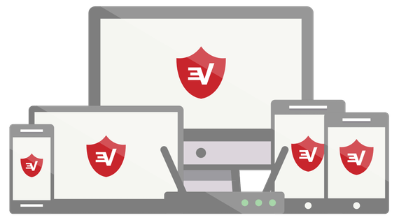 ExpressVPN shield logo on a range of devices.