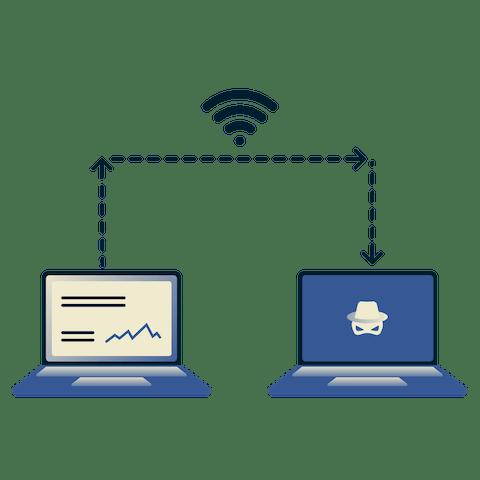 Een laptop verstuurt data via wifi naar een andere laptop met doodskop.