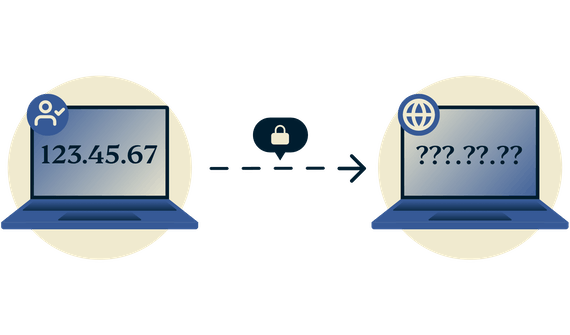 Komputer z widocznym adresem IP staje się ukryty, gdy jest chroniony za pomocą VPN.