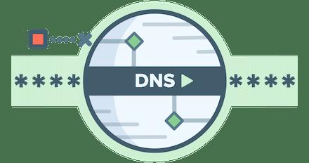 โลโก้วงกลม DNS ที่แสดงการปกป้องจากการโจรกรรม DNS