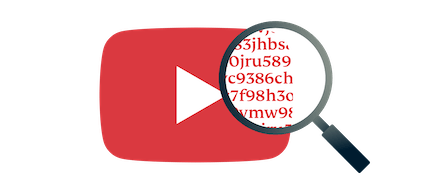 Magnifying class hovering over YouTube play button icon showing encrypted information.
