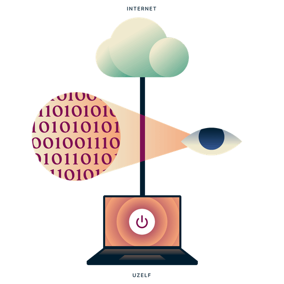 Laptop met onbeveiligde internetverbinding, met een oog dat kijkt naar het dataverkeer tussen de laptop en het internet.