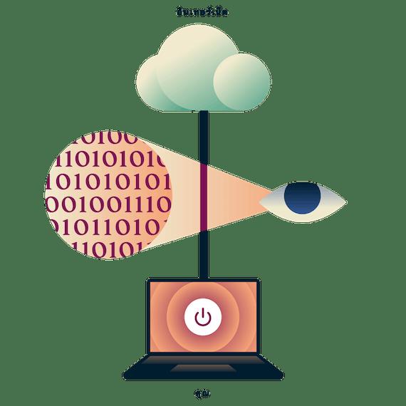 แล็ปท็อปที่มีการเชื่อมต่อกับอินเทอร์เน็ตอย่างไม่ปลอดภัย โดยมีตาที่แอบมองข้อมูลการใช้งานระหว่างแล็ปท็อปและอินเทอร์เน็ต