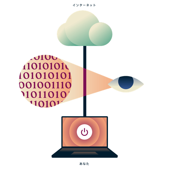 インターネットに保護されていない状態で接続されているノートパソコンと、ノートパソコンとインターネットの間のトラフィックデータを見る目。