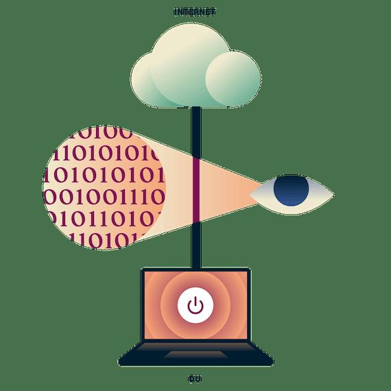 Laptop med osäkrad internetanslutning med ett öga som tittar på datatrafik mellan laptopen och internet.