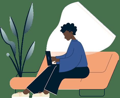 ผู้หญิงใช้แล็ปท็อปบนโซฟา