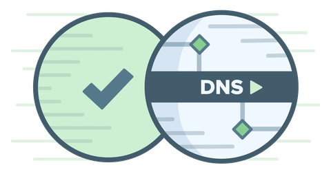 Circular DNS logo with green checkmark