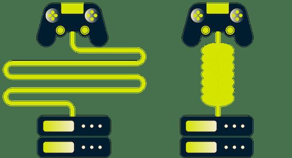 ตัวควบคุมเกมตัวหนึ่งใช้เส้นทางยาวเพื่อไปยังเซิร์ฟเวอร์โดยอีกตัวใช้อุโมงค์ VPN สั้น ๆ
