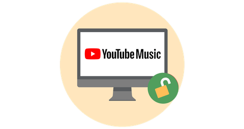 YouTube Music on a screen with open padlock.