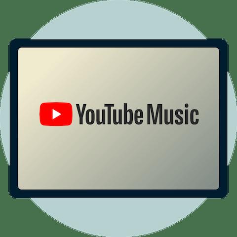 YouTube Music-logo på en skjerm.