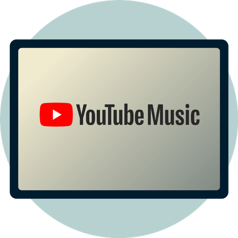 YouTube Music logo on a screen.