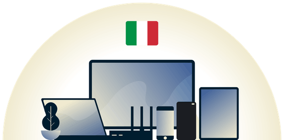 Italy VPN protecting a variety of devices.