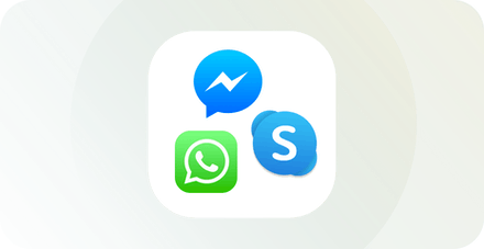 WhatsApp-, Viber- och Skype-logotyper.