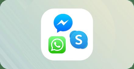 WhatsApp, Viber og Skype-logoer.