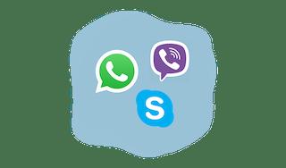 WhatsApp, Viber, and Skype logos.