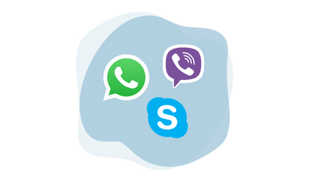 Логотипы WhatsApp, Viber и Skype.