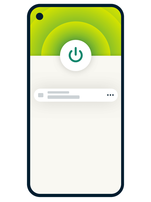 Mobile phone with the connected ExpressVPN interface on the screen.