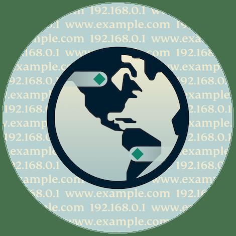 녹색 배경 위 원형 DNS 로고