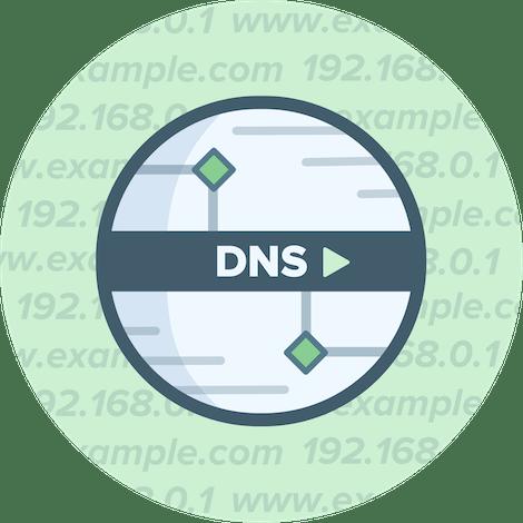 โลโก้วงกลม DNS บนพื้นหลังสีเขียว