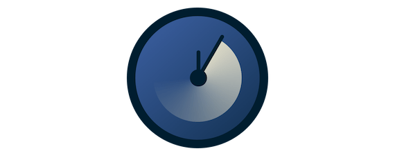 A blue clock with turning hands.