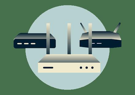 En gruppe av flere VPN-rutere