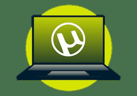 The uTorrent logo on a laptop.