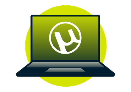 The uTorrent logo on a laptop.