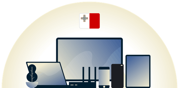 Malta VPN protecting a variety of devices.