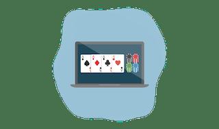 Online poker on a laptop.